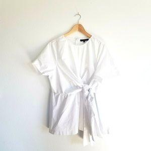 Eloquii White Crisp Shirt Plus Size 18 Tie Waist